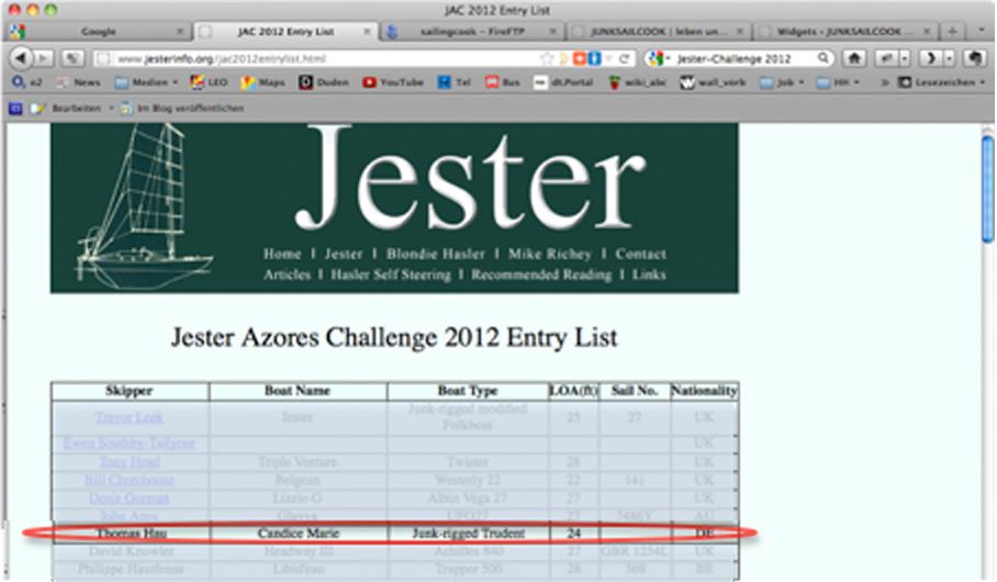 Info zur «The Jester Azores Challenge 2012 »